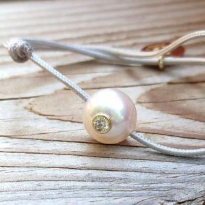 BABY VIP+    Bracelet bébé perle d'Akoya, diamant et or 18K