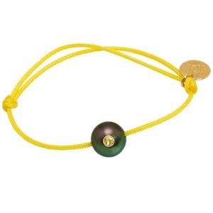 SUNNY BABY     Bracelet bébé perle de Tahiti, saphir jaune et or 18k