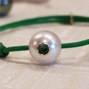 LUCKY BABY +     Bracelet bébé perle de culture, émeraude et or 18k