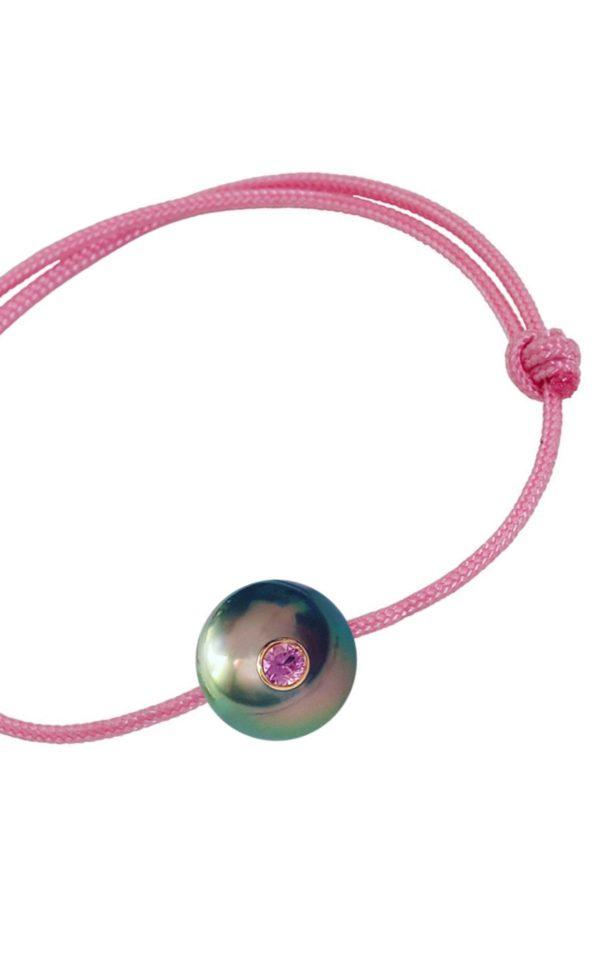 SWEET BABY   Bracelet enfant perle de Tahiti, saphir rose et or 18k