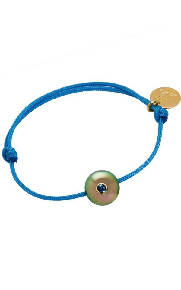 PACIFIC BABY  Bracelet enfant perle de Tahiti, saphir bleu et or 18k