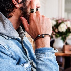 TRIBAL MONOÏ VIP - Bracelet perle de Tahiti gravée avec diamant