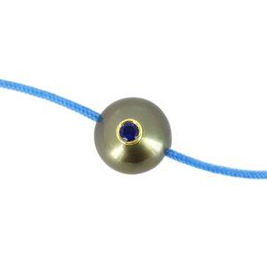 PACIFIC MONOÏ     Bracelet perle de Tahiti et saphir bleu