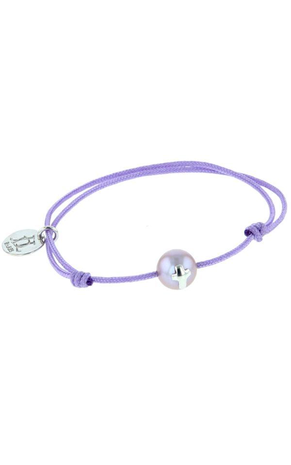 Bracelet baptême ou communion - perle de culture avec croix