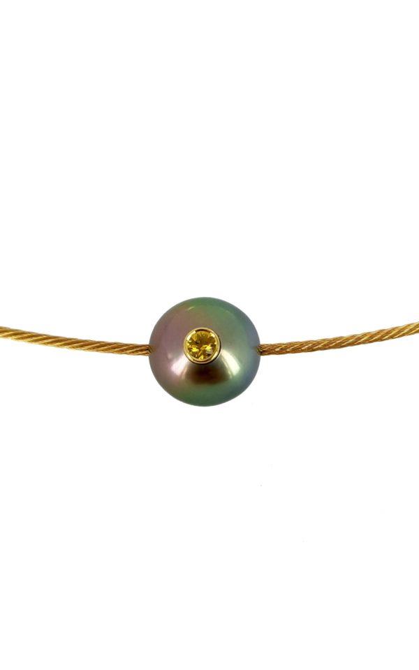 MAGIC MONOÏ - Collier câble en or, perle de Tahiti et saphir jaune