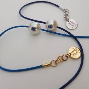 PACIFIC MONOÏ +    Bracelet perle blanche et saphir bleu