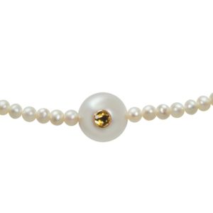 WHITE CANDY   Collier perles blanches, saphir jaune et or 18K