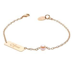 MA PERLE DE VIE Bracelet en or avec croix égyptienne et perle d'Akoya
