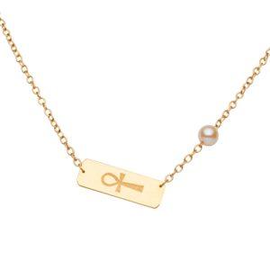 MA PERLE DE VIE Collier en or avec croix égyptienne et perle d'Akoya