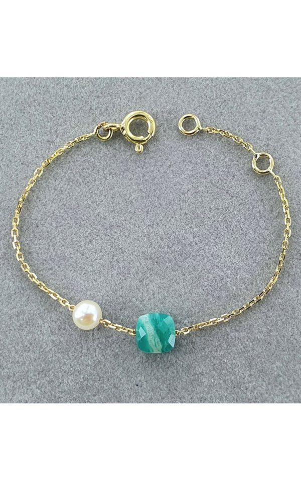 LA P'TITE AMAZONE  Bracelet bébé en or, perle de culture et amazonite